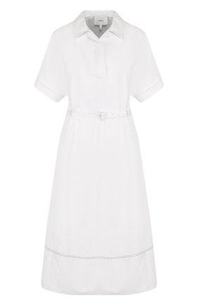 Приталенное хлопковое платье-рубашка с поясом | Фото №1