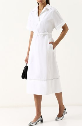 Приталенное хлопковое платье-рубашка с поясом Casasola белое | Фото №1