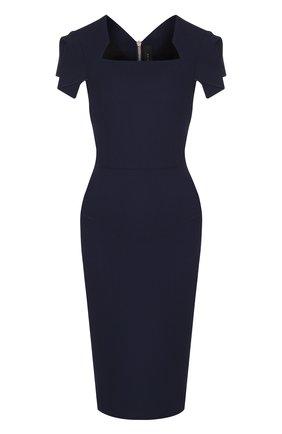 Однотонное платье-футляр с коротким рукавом | Фото №1