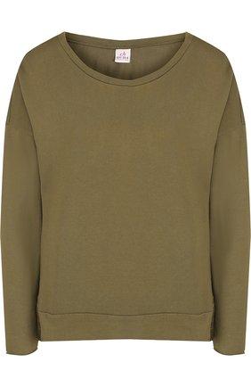 Однотонный хлопковый пуловер свободного кроя с круглым вырезом Deha хаки | Фото №1
