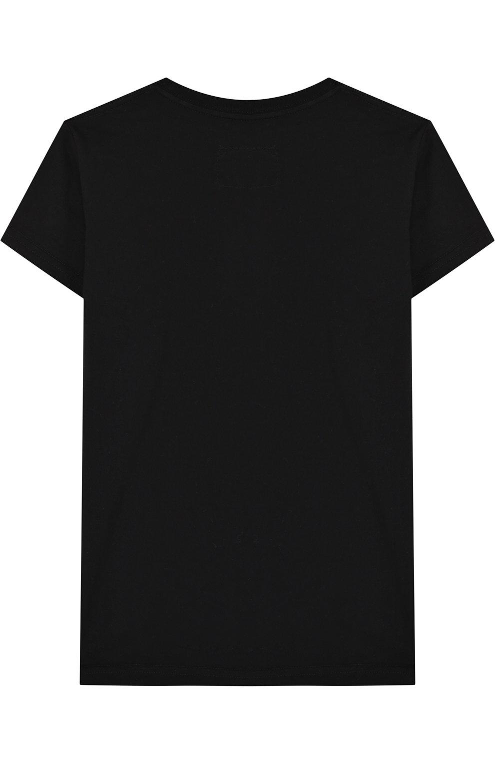 Детская хлопковая футболка с декором NUNUNU черного цвета, арт. NU1704A   Фото 2