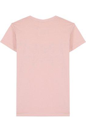 Детская хлопковая футболка с декором NUNUNU светло-розового цвета, арт. NU1704A | Фото 2