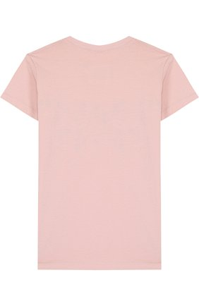 Детская хлопковая футболка с декором NUNUNU светло-розового цвета, арт. NU1704B | Фото 2