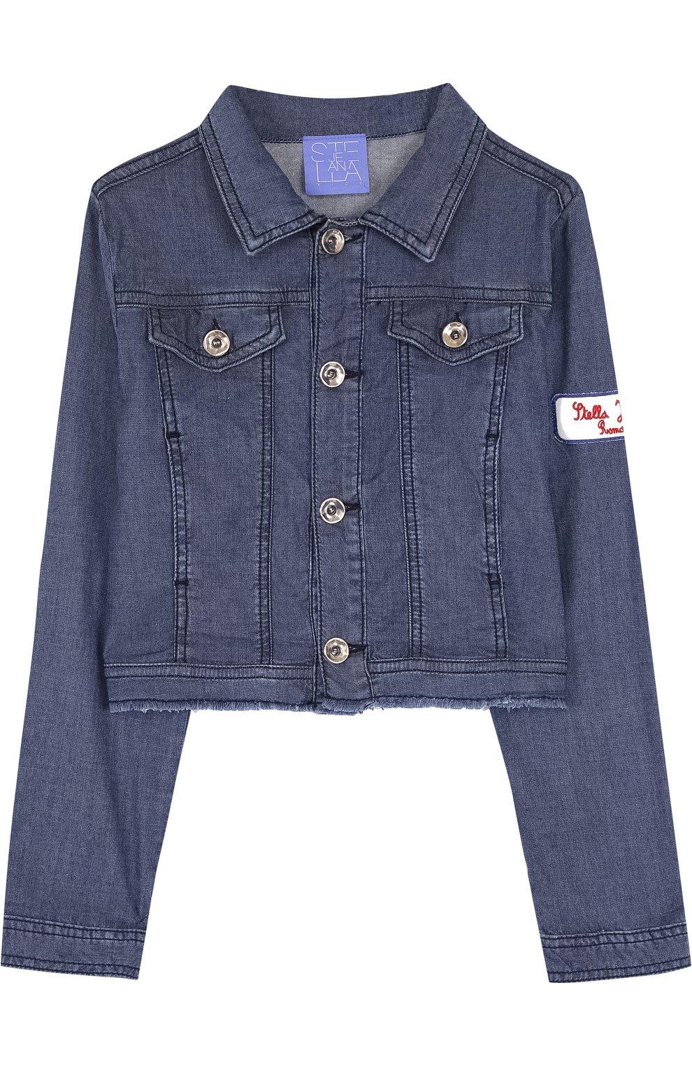 Детская джинсовая куртка с нашивкой STELLA JEAN KIDS синего цвета, арт. J/JF/SJ01/1037/8A-14A | Фото 1