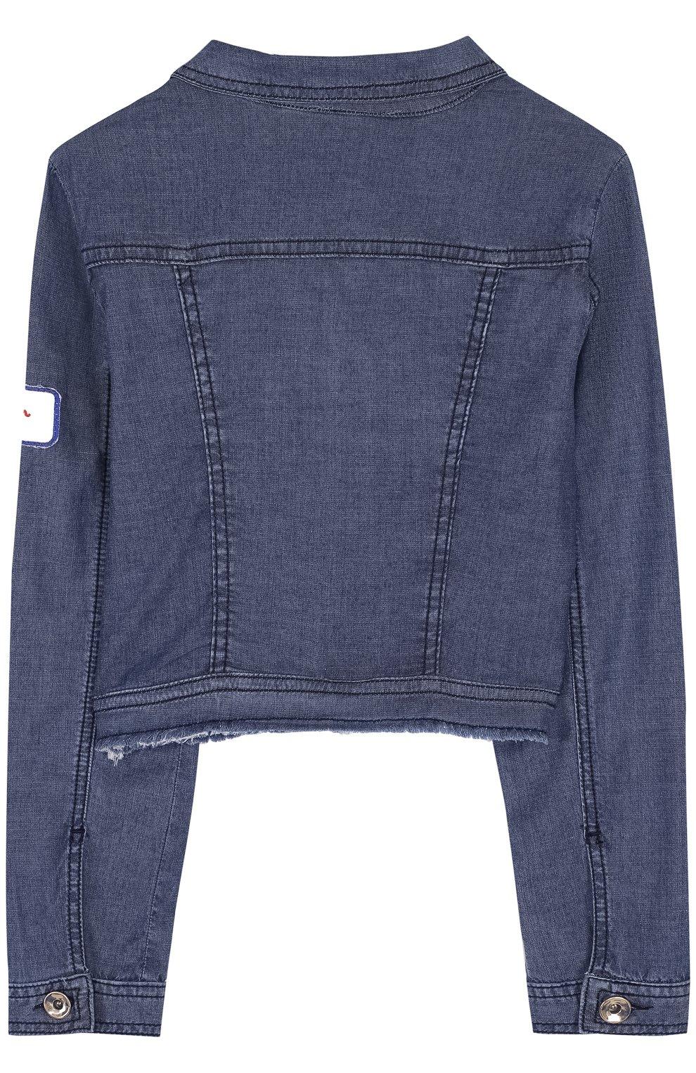 Детская джинсовая куртка с нашивкой STELLA JEAN KIDS синего цвета, арт. J/JF/SJ01/1037/8A-14A | Фото 2