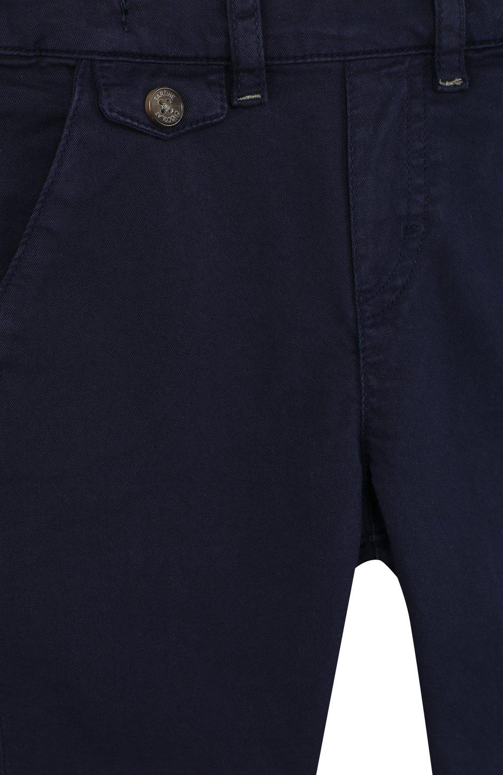Детские хлопковые брюки прямого кроя TARTINE ET CHOCOLAT темно-синего цвета, арт. TL22091/2A-3A | Фото 3