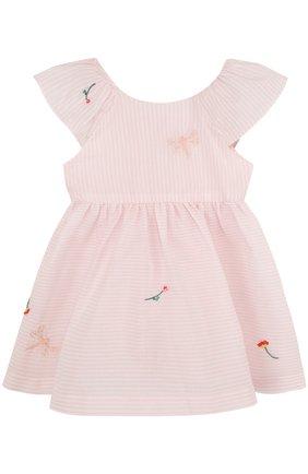Женский хлопковое платье с вышивкой и оборкой TARTINE ET CHOCOLAT светло-розового цвета, арт. TL30021/1M-18M   Фото 1
