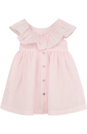Женский хлопковое платье с вышивкой и оборкой TARTINE ET CHOCOLAT светло-розового цвета, арт. TL30021/1M-18M   Фото 2