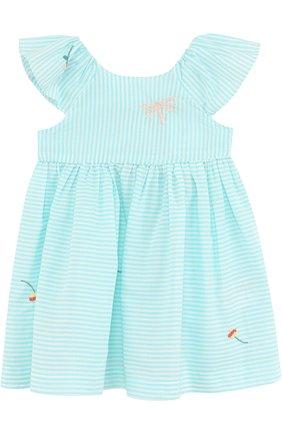 Женская хлопковое платье с вышивкой и оборкой TARTINE ET CHOCOLAT зеленого цвета, арт. TL30021/1M-18M | Фото 1