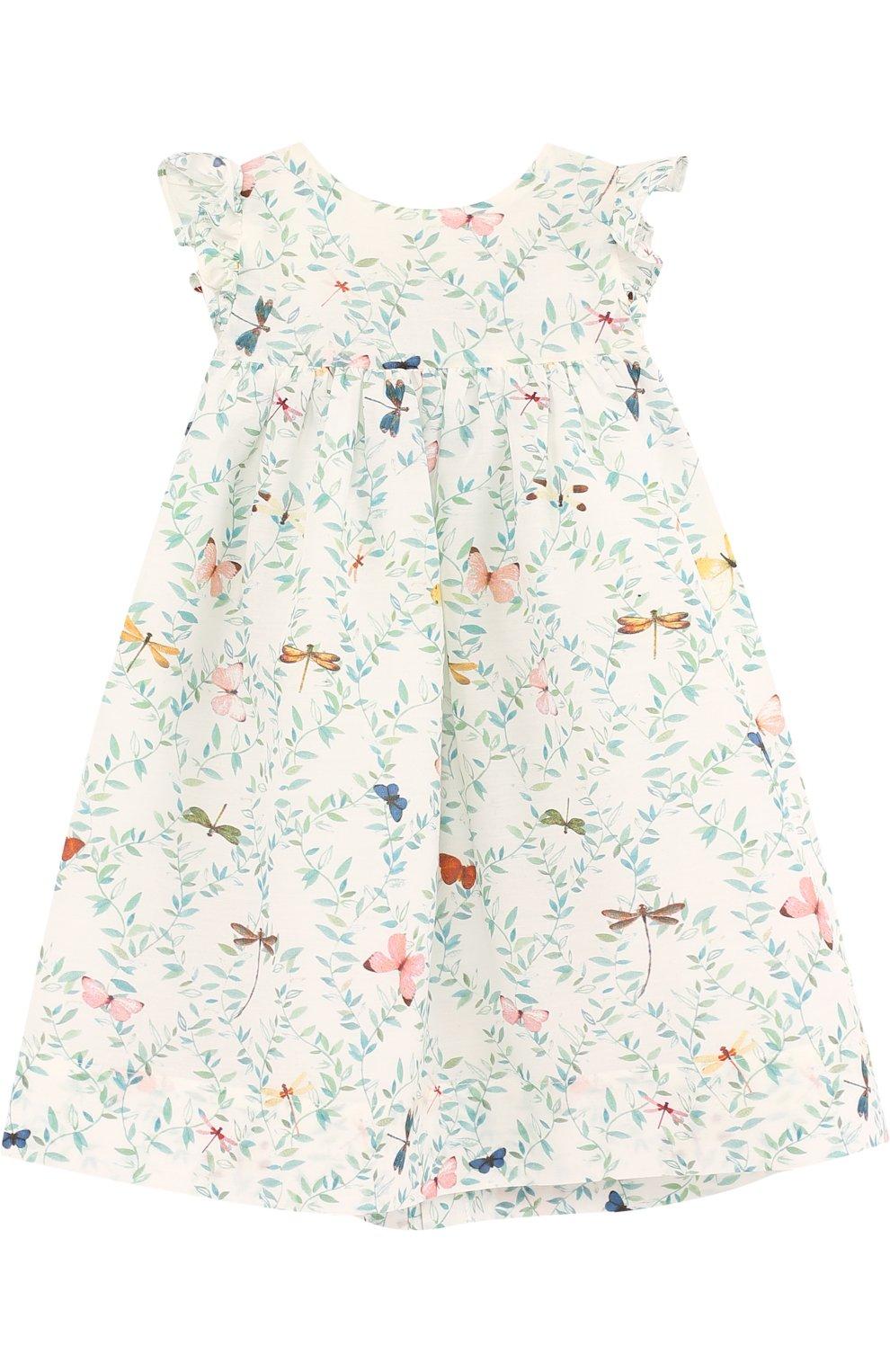 Женская платье из смеси хлопка и шелка с принтом TARTINE ET CHOCOLAT светло-зеленого цвета, арт. TL30131/1M-18M   Фото 1
