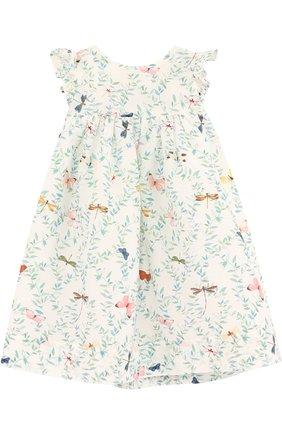 Платье из смеси хлопка и шелка с принтом | Фото №1