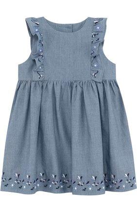 Хлопковое платье с вышивкой и оборками | Фото №1