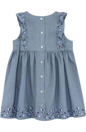 Хлопковое платье с вышивкой и оборками | Фото №2