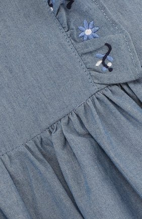 Хлопковое платье с вышивкой и оборками | Фото №3