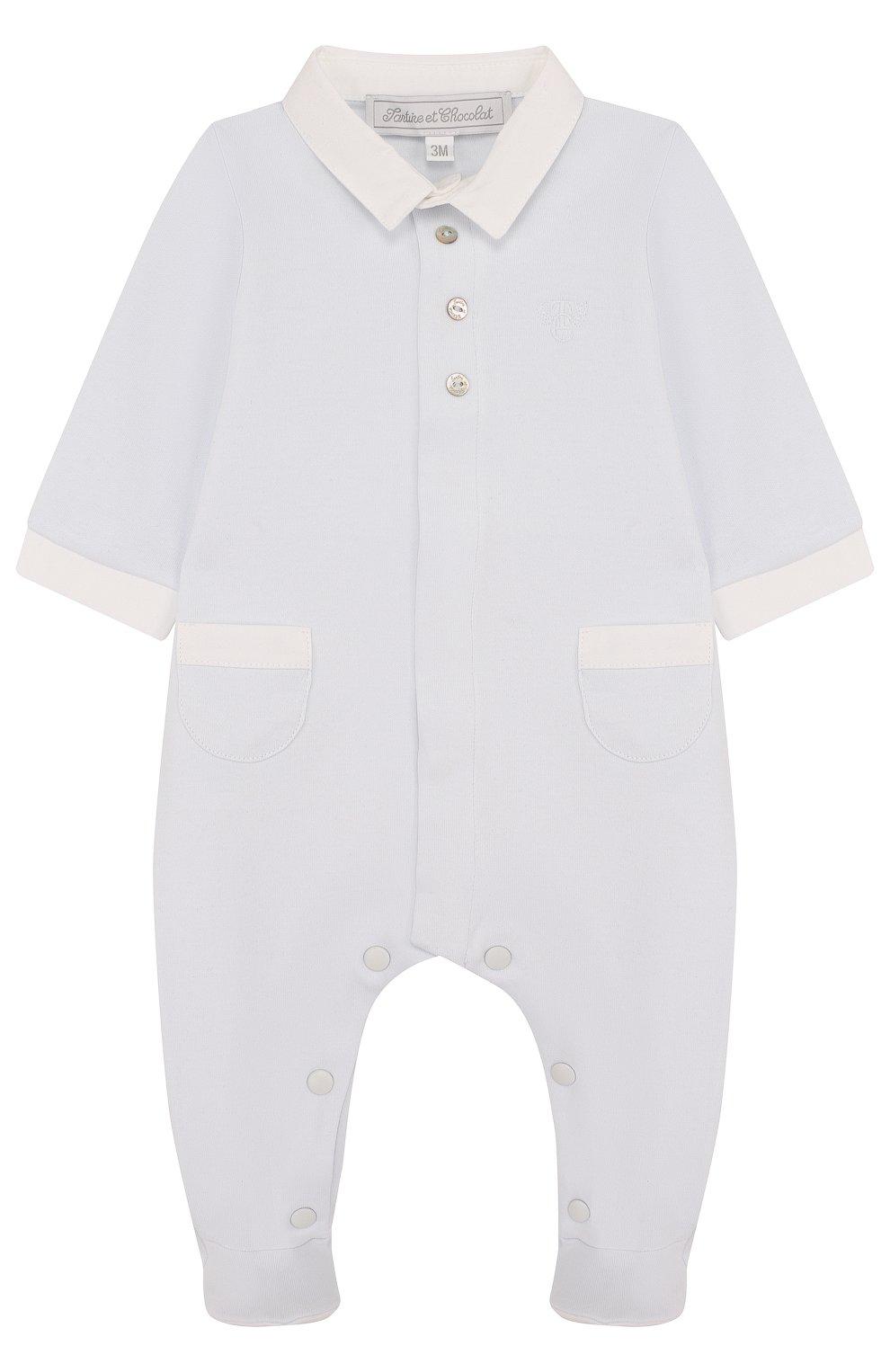 Детский хлопковая пижама TARTINE ET CHOCOLAT голубого цвета, арт. TL54131 | Фото 1