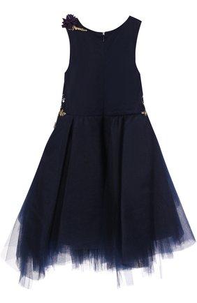 Детское пышное платье асимметричного кроя с вышивкой пайетками и декором Mischka Aoki синего цвета | Фото №1