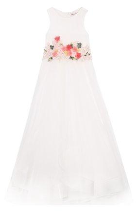 Платье-макси с цветочной аппликацией | Фото №1