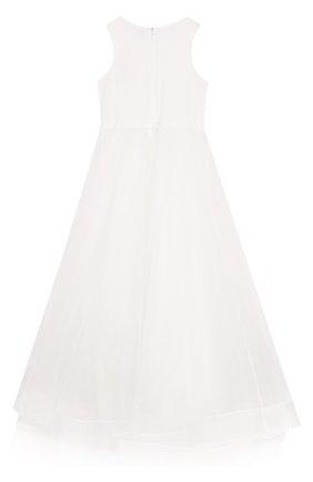 Детское платье-макси с цветочной аппликацией Little Miss Aoki белого цвета   Фото №1