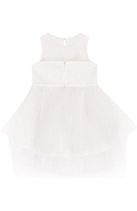 Детское мини-платье с пышной юбкой и цветочной аппликацией Little Miss Aoki белого цвета   Фото №1