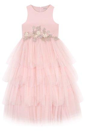 Детское платье-макси с многоярусной юбкой и цветочной аппликацией Little Miss Aoki розового цвета   Фото №1