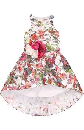 Детское мини-платье с асимметричным подолом и цветочной аппликацией на поясе Little Miss Aoki разноцветного цвета   Фото №1