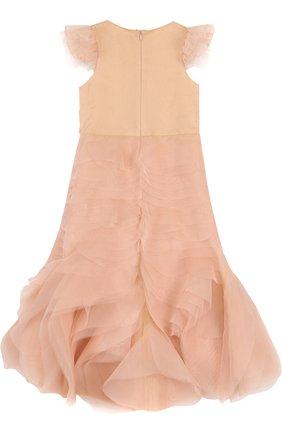 Детское платье-макси с многоярусными оборками и вышивкой с жемчужинами Little Miss Aoki бежевого цвета   Фото №1