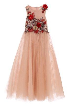 Платье-макси с многослойной юбкой и вышивкой с пайетками и бусинами   Фото №1