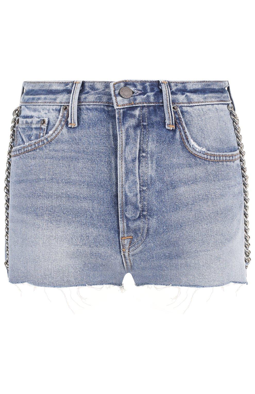 Женские джинсовые мини-шорты с потертостями GRLFRND голубого цвета, арт. GF4011850658 | Фото 1