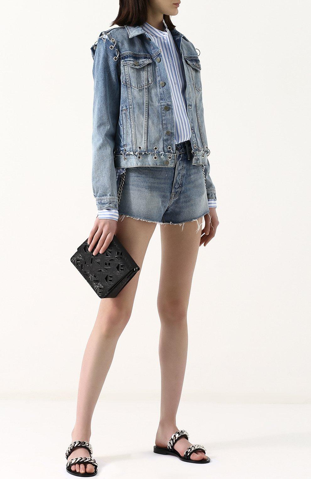 Женские джинсовые мини-шорты с потертостями GRLFRND голубого цвета, арт. GF4011850658 | Фото 2