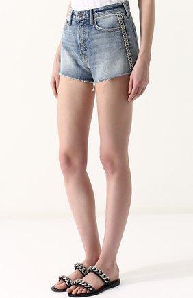 Женские джинсовые мини-шорты с потертостями GRLFRND голубого цвета, арт. GF4011850658 | Фото 3