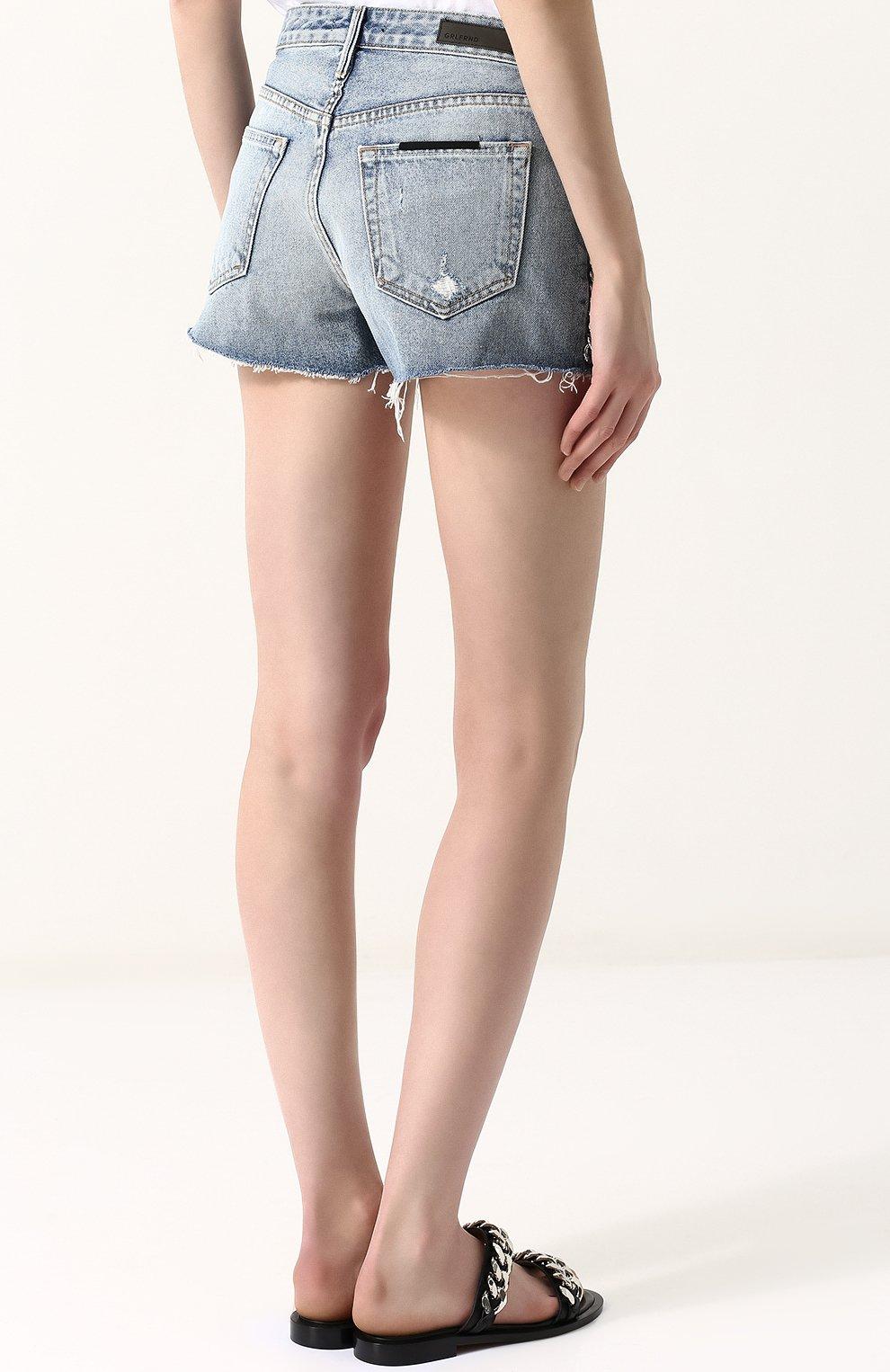 Женские джинсовые мини-шорты с потертостями GRLFRND голубого цвета, арт. GF4011850658 | Фото 4