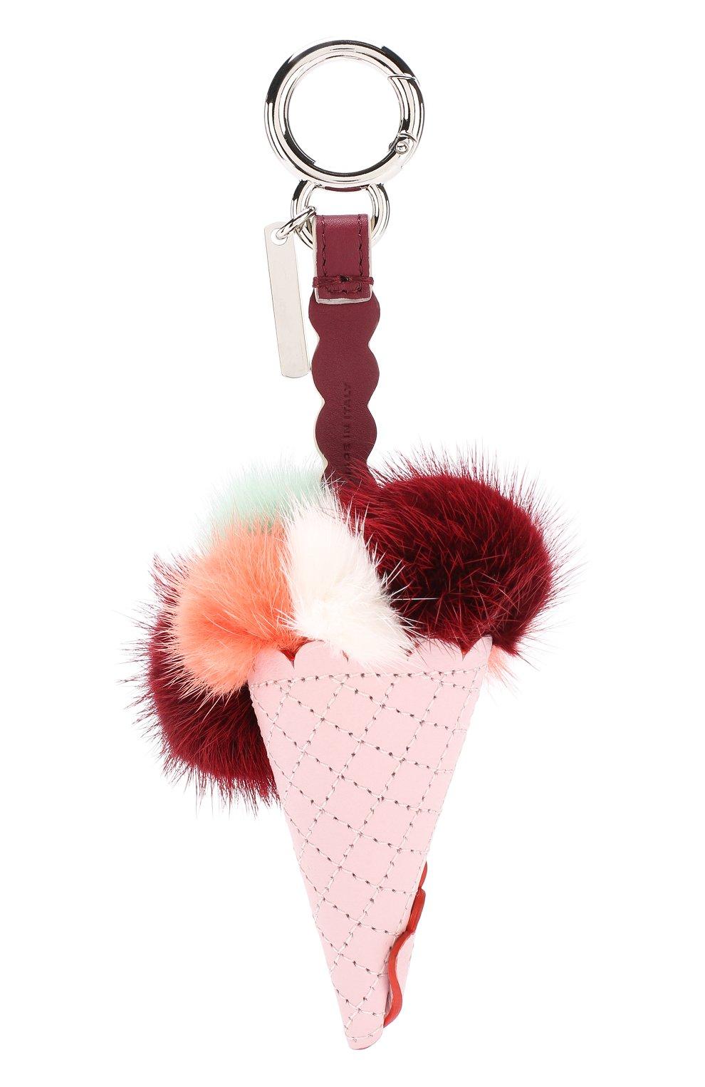 Кожаная подвеска Ice Cream  с отделкой из меха норки Fendi светло-розовый | Фото №2