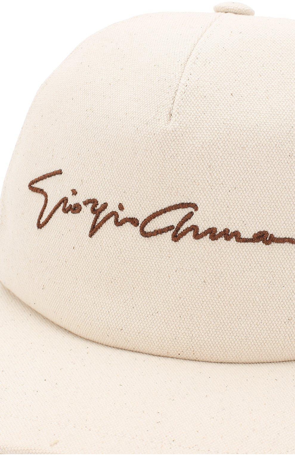 Мужской хлопковая бейсболка с логотипом бренда GIORGIO ARMANI кремвого цвета, арт. 747324/8P510 | Фото 3