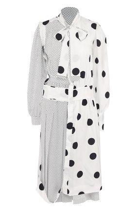 Приталенное шелковое платье с воротником аскот Maison Margiela черно-белое | Фото №1