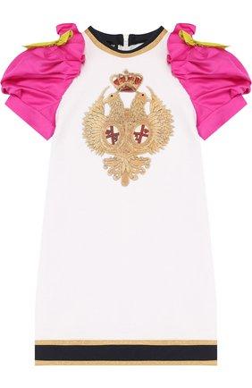 Детское хлопковое мини-платье с вышивкой и контрастными рукавами DSQUARED2 белого цвета, арт. DQ02R9-D00QX   Фото 1