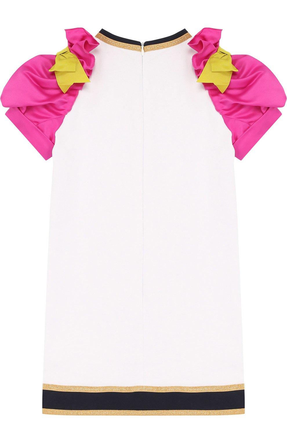 Детское хлопковое мини-платье с вышивкой и контрастными рукавами DSQUARED2 белого цвета, арт. DQ02R9-D00QX   Фото 2