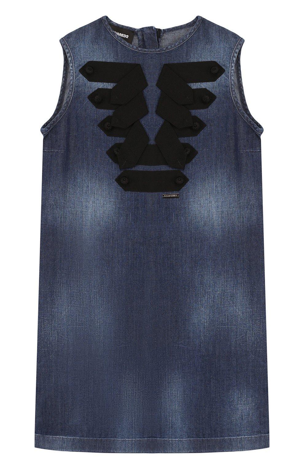 Детское джинсовый мини-сарафан прямого кроя с контрастной отделкой DSQUARED2 темно-синего цвета, арт. DQ02RA-D00R4 | Фото 1