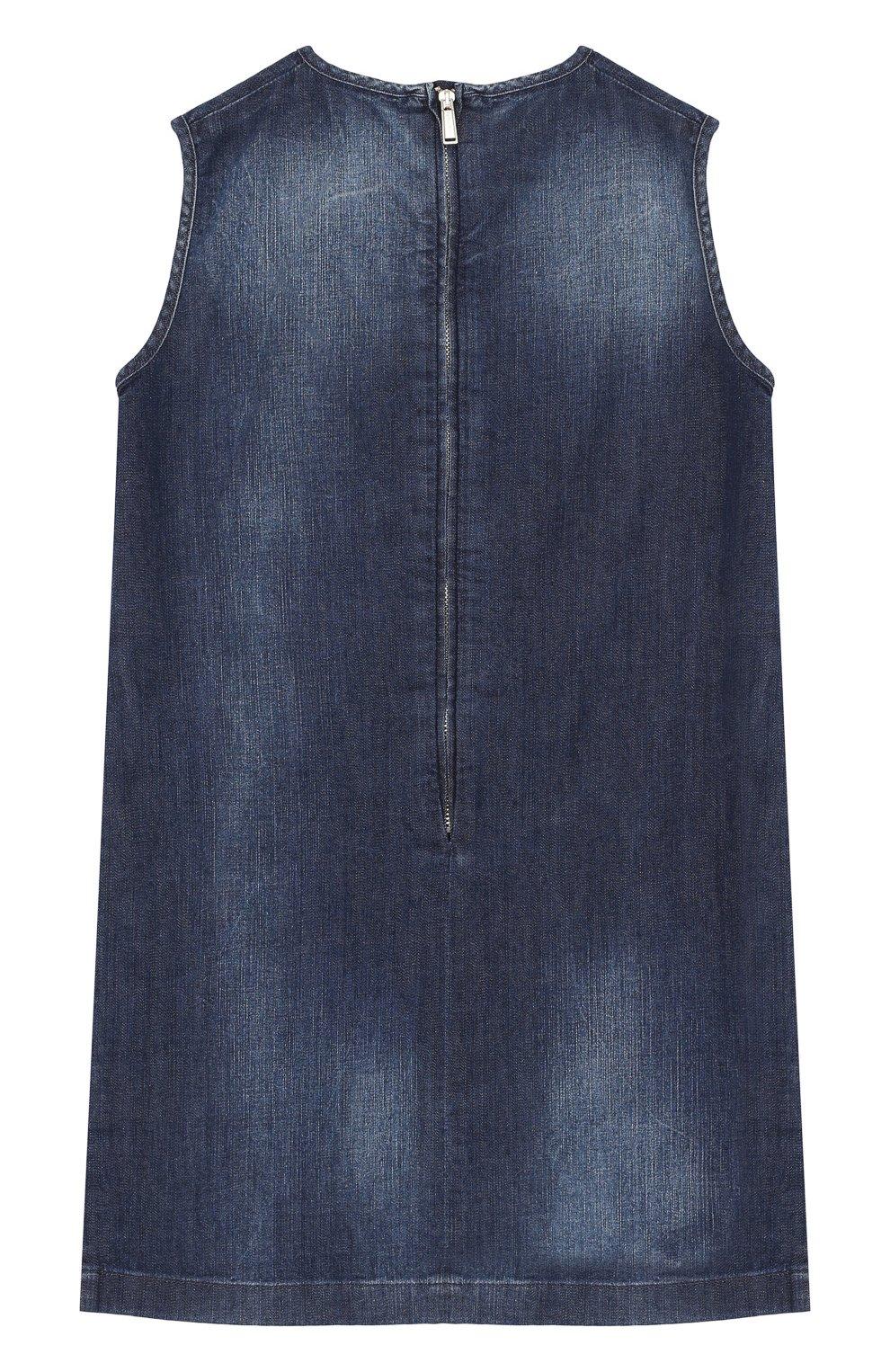 Детское джинсовый мини-сарафан прямого кроя с контрастной отделкой DSQUARED2 темно-синего цвета, арт. DQ02RA-D00R4 | Фото 2