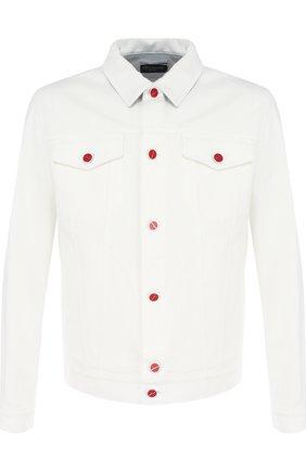 Мужская джинсовая куртка на пуговицах KITON белого цвета, арт. UW0374V08P1403002   Фото 1