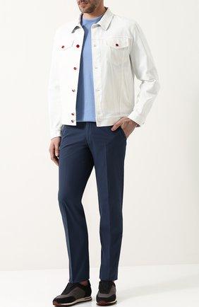 Мужская джинсовая куртка на пуговицах KITON белого цвета, арт. UW0374V08P1403002   Фото 2