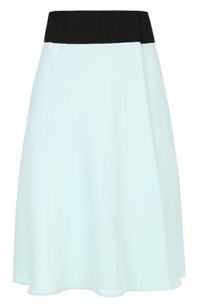 Шелковая мини-юбка с контрастным поясом | Фото №1