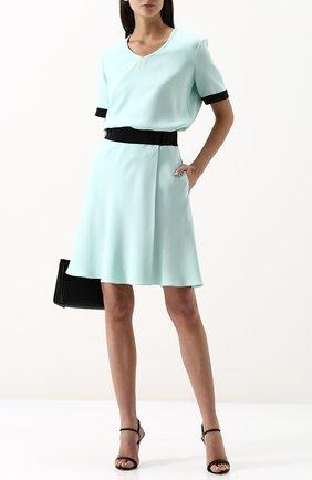 Шелковая мини-юбка с контрастным поясом | Фото №2