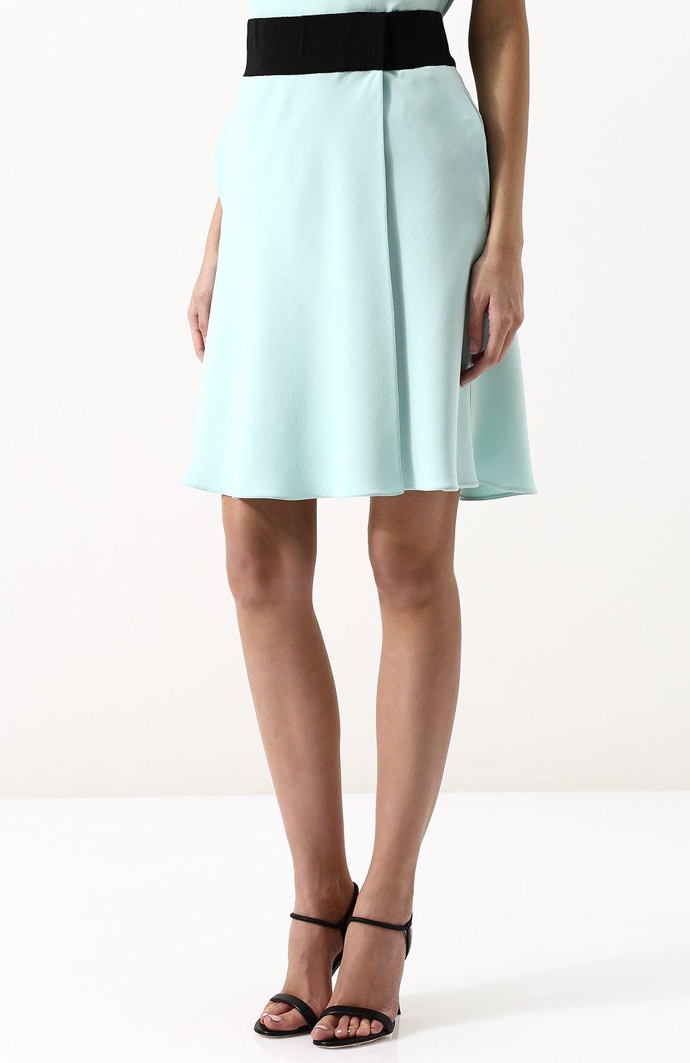 Шелковая мини-юбка с контрастным поясом | Фото №3