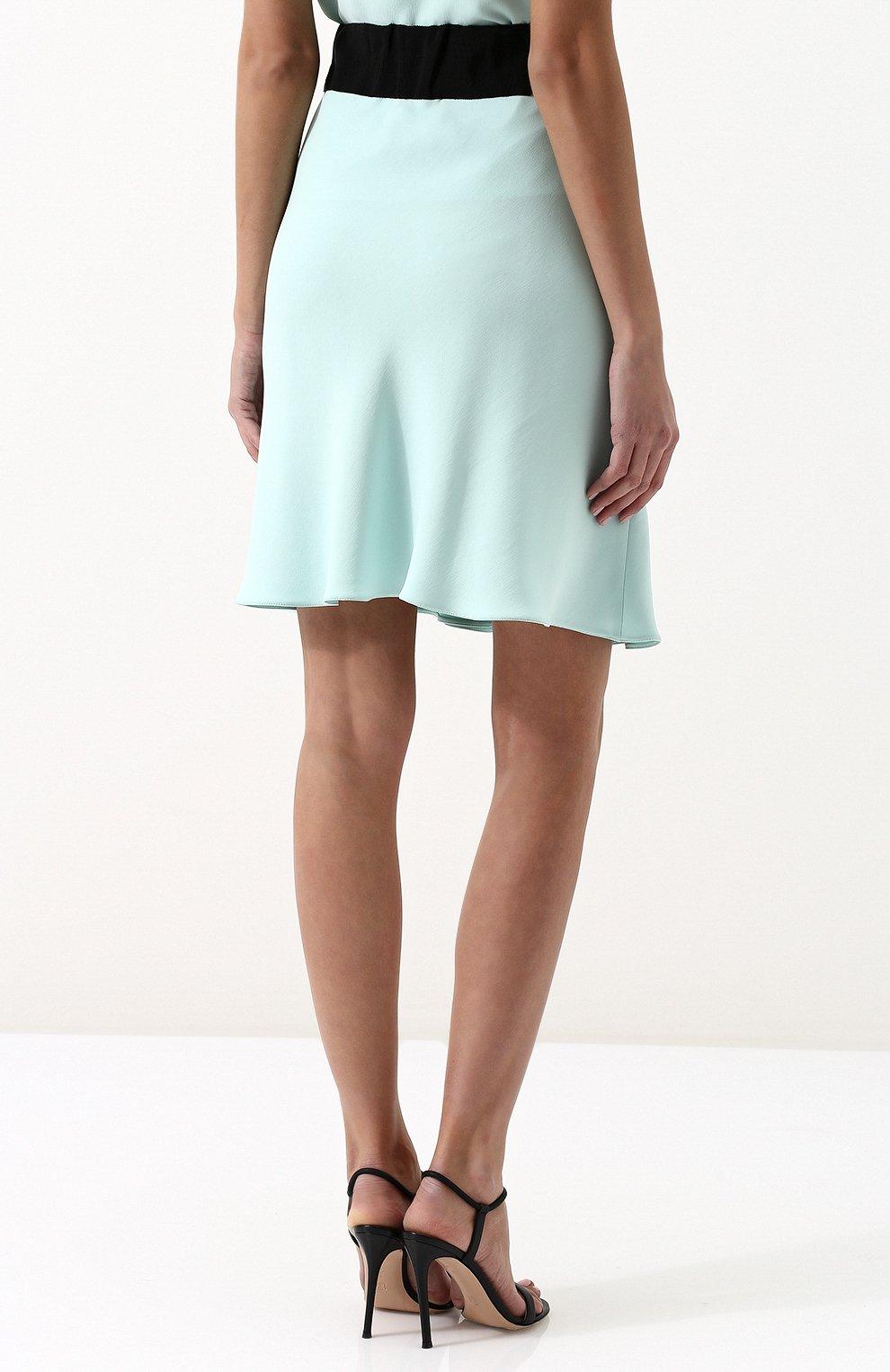 Шелковая мини-юбка с контрастным поясом | Фото №4