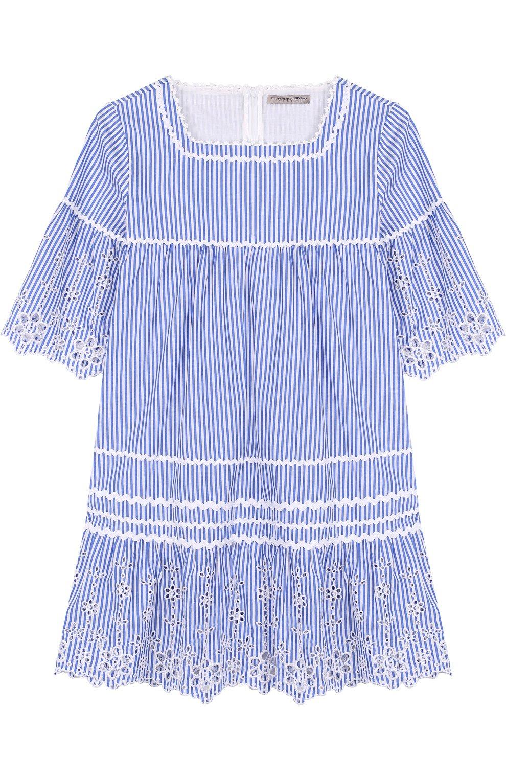 Хлопковое мини-платье с кружевной отделкой   Фото №1