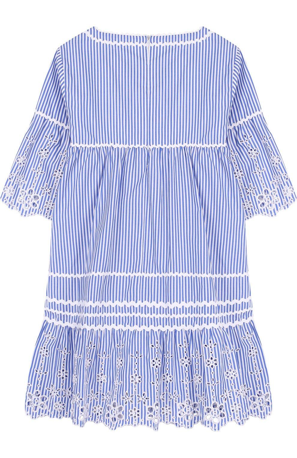 Хлопковое мини-платье с кружевной отделкой   Фото №2