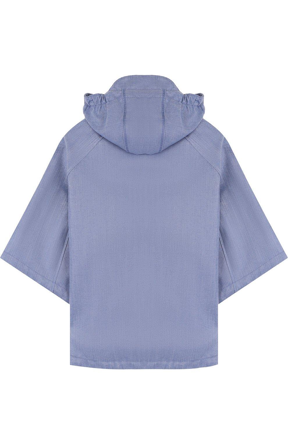Детское пончо с капюшоном GOSOAKY голубого цвета, арт. 181.101.221/C0ATED DENIM | Фото 2