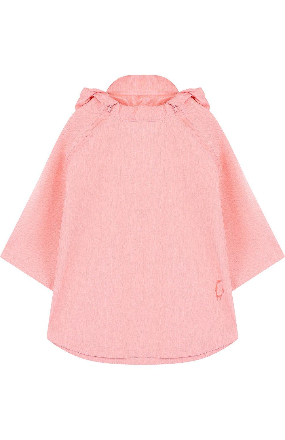 Детское пончо с капюшоном GOSOAKY розового цвета, арт. 181.101.221/C0ATED W0VEN MELANGE | Фото 1