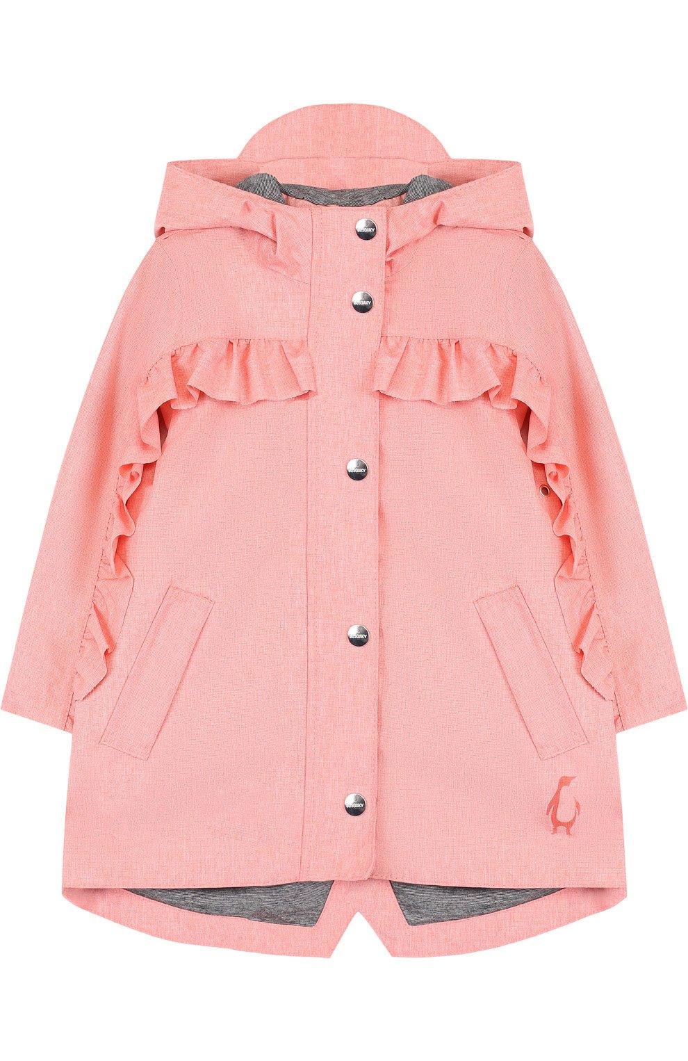 Детский дождевик с капюшоном и оборками GOSOAKY розового цвета, арт. 181.101.239/C0ATED W0VEN MELANGE   Фото 1