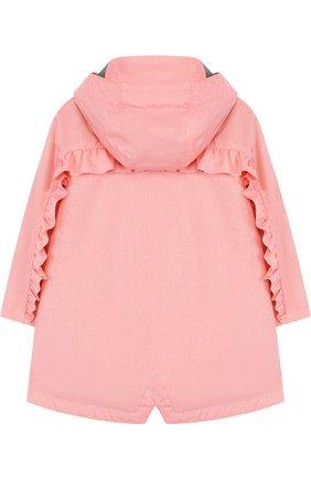 Детский дождевик с капюшоном и оборками GOSOAKY розового цвета, арт. 181.101.239/C0ATED W0VEN MELANGE   Фото 2